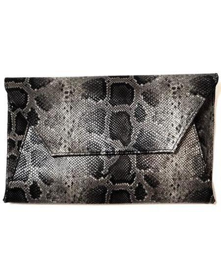 Oliveve Cleo Envelope Clutch In Mink Baby Python Cow Leather