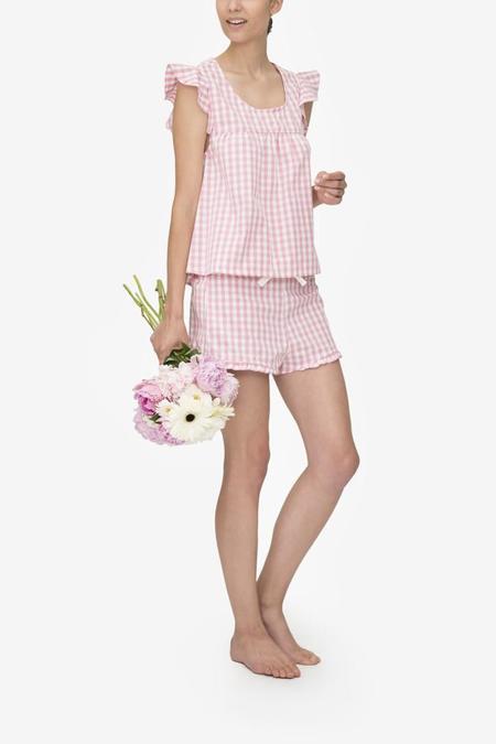 Monika Hibbs x The Sleep Shirt Flounce Top Rosy Gingham