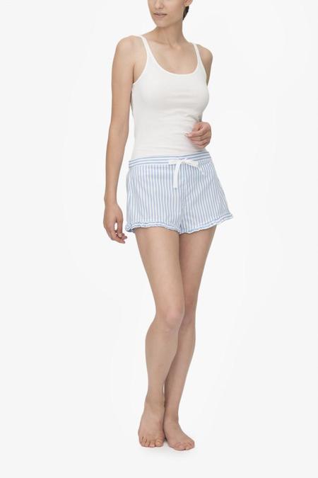 Monika Hibbs x The Sleep Shirt Ruffle Short Wide Blue Stripe