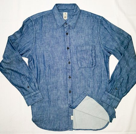 KATO' Slim French Seam L/S Shirt Double Gauze Chambray Light Indigo