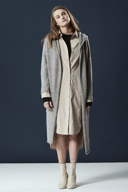 Achro Cashmere Blend Hooded Cardigan - Gray
