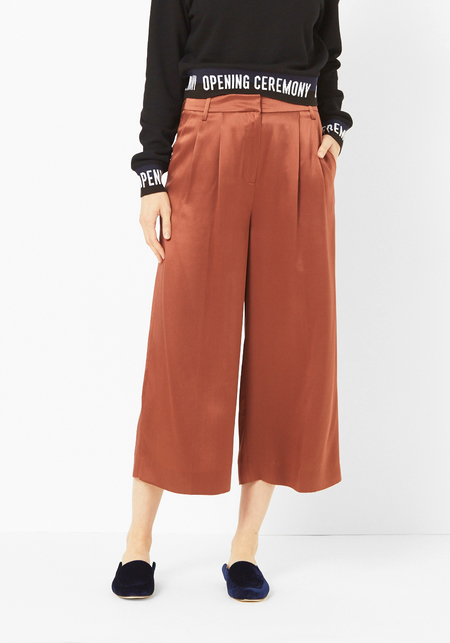 Tibi Satin Burnt Umbre Cropped Pant