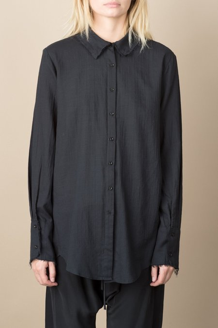 KES Raw Edge Washed Cotton Button Up In Black