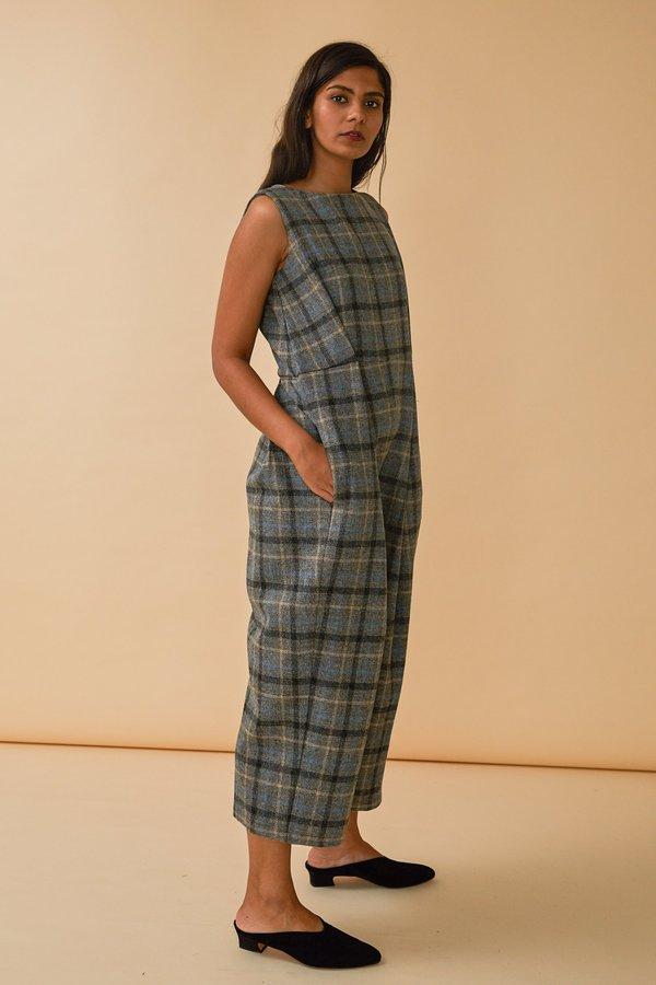 Wolcott : Takemoto Bushi Jumpsuit in Grey Merino Wool Plaid