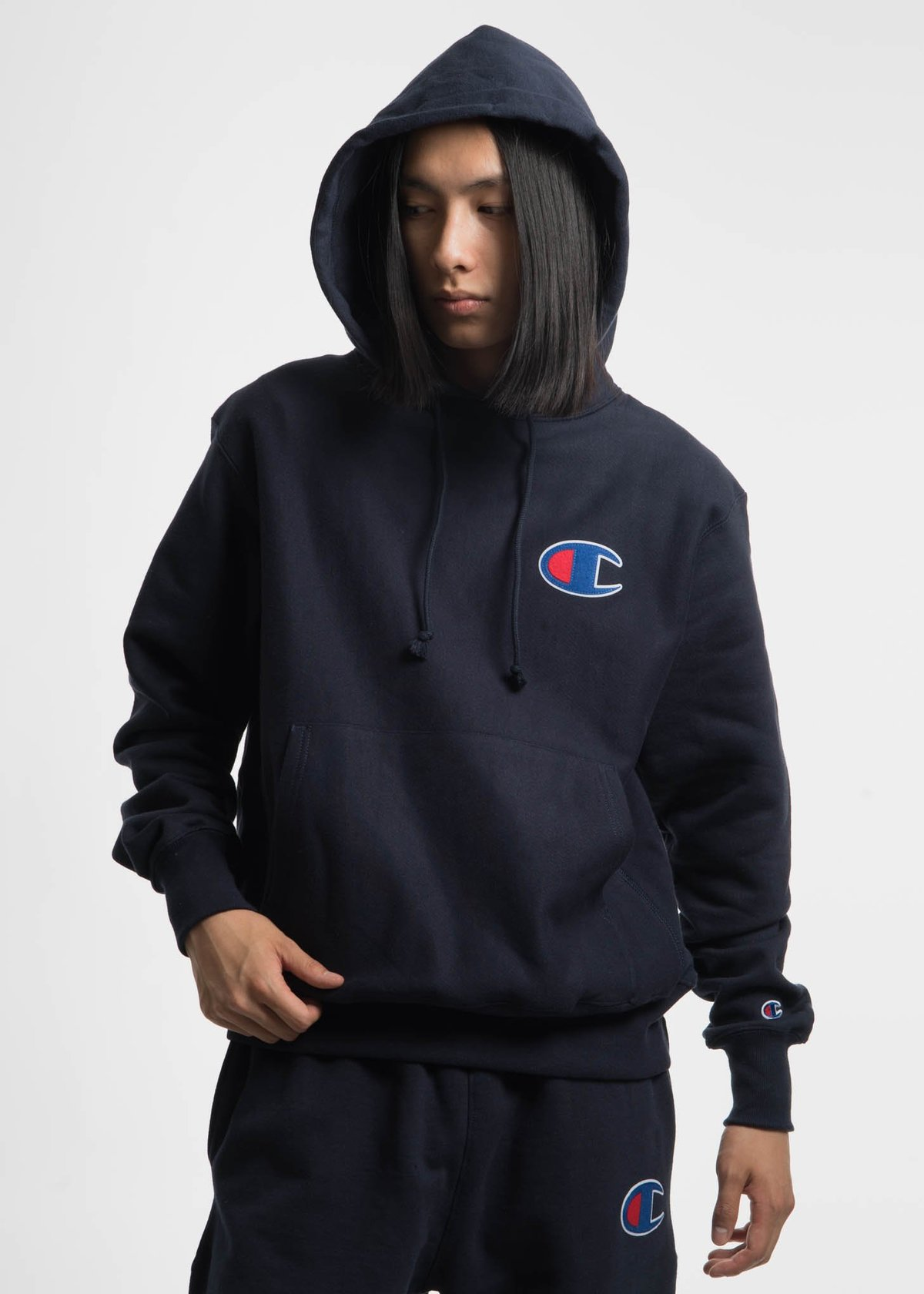 Champion Reverse Weave Navy Hoodie with Large