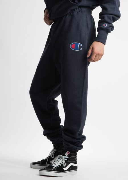 "Champion Reverse Weave Navy Pants with Large ""C"" Logo"