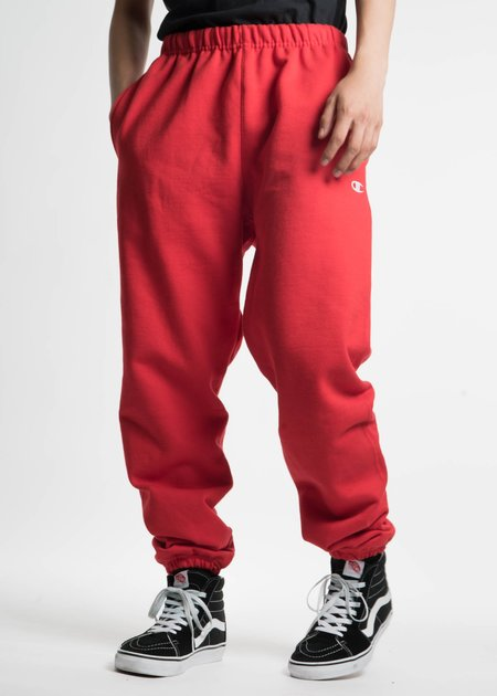 "Champion Reverse Weave Red Pants with Pocket ""C"" Logo"