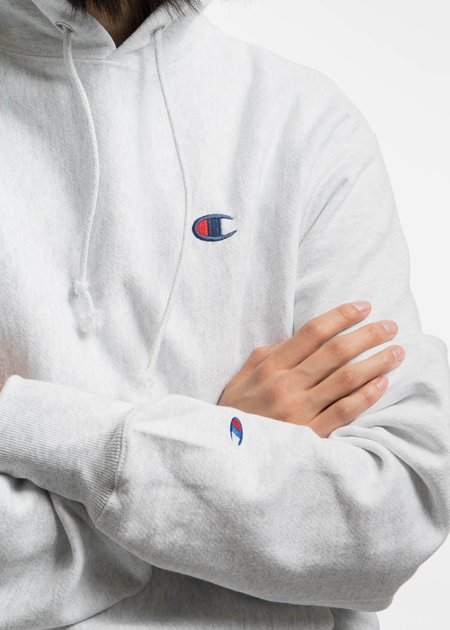 "Champion Reverse Weave Silver Grey Hoodie with Left Chest ""C"" Logo"