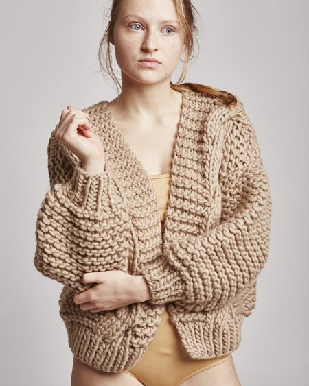 I Love Mr Mittens Diamond Bomber Cardigan In Taupe