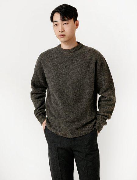 Lemaire Mens Oversize Crew-Neck Sweater - Granite