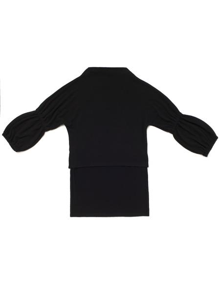 Kid's OMAMImini High-Low Knit Tunic w/ Bubble Sleeve Black