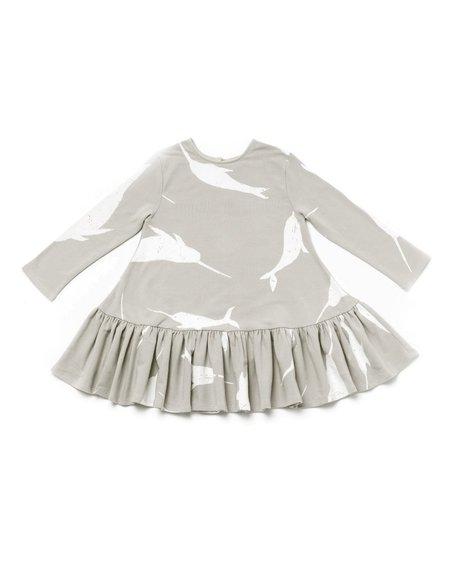 Kid's OMAMImini Drop Waist Dress w/ Big Narwhals Print Light Grey