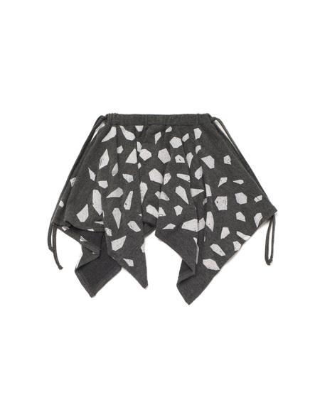 Kid's OMAMImini Knit Handkerchief Skirt w/ Print Charcoal