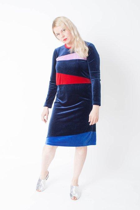 Carleen Velvet Patchwork Dress - Ink