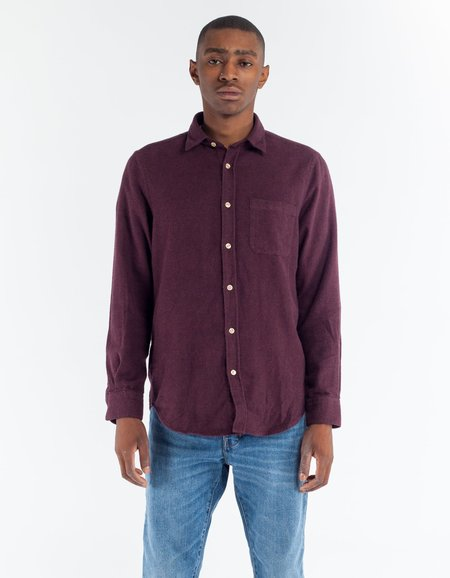 Portuguese Flannel Teca Shirt in Bordeaux