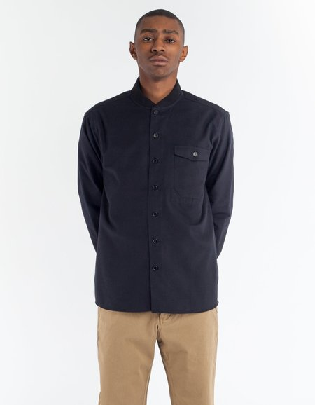 YMC Delinquents Rib Collar Shirt in Black