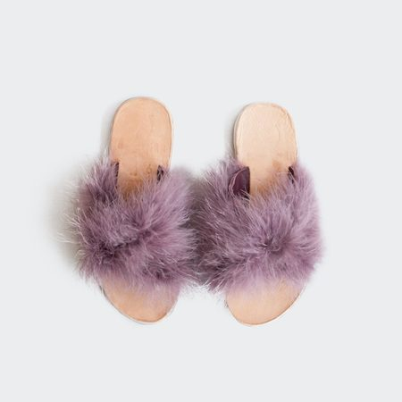 Brother Vellies Marabou Lamu Sandal - Dusty Lavender