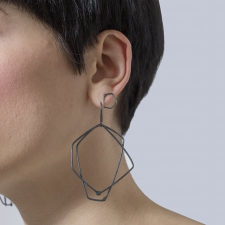 Gabrielle Desmarais 'Double Element Dangle Earrings' Oxidized Sterling Silver