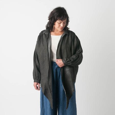 ICHI ANTIQUITE Linen Herringbone Shirt in Sumi Ink