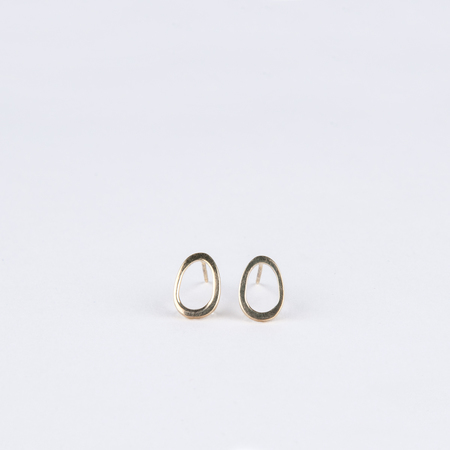 MODERN WEAVING Gold Vermeil Slanted Oval Studs