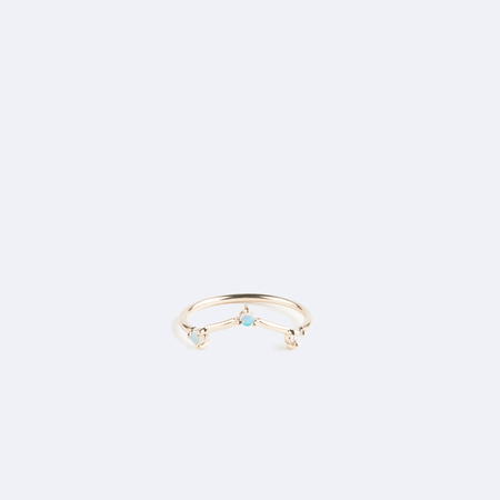 WWAKE Shiny Three Step Triangle Ring with Opal and White Diamond in 14K Yellow Gold