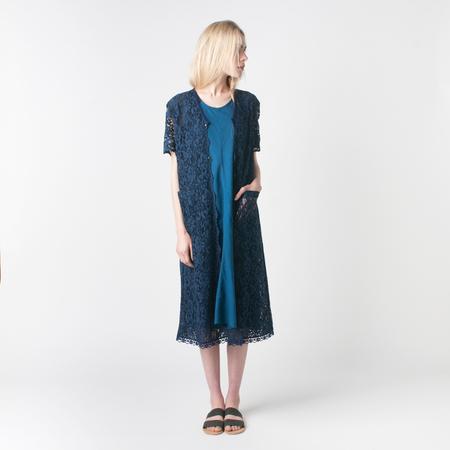 BLUE BLUE JAPAN Flower Lace Robe in Indigo