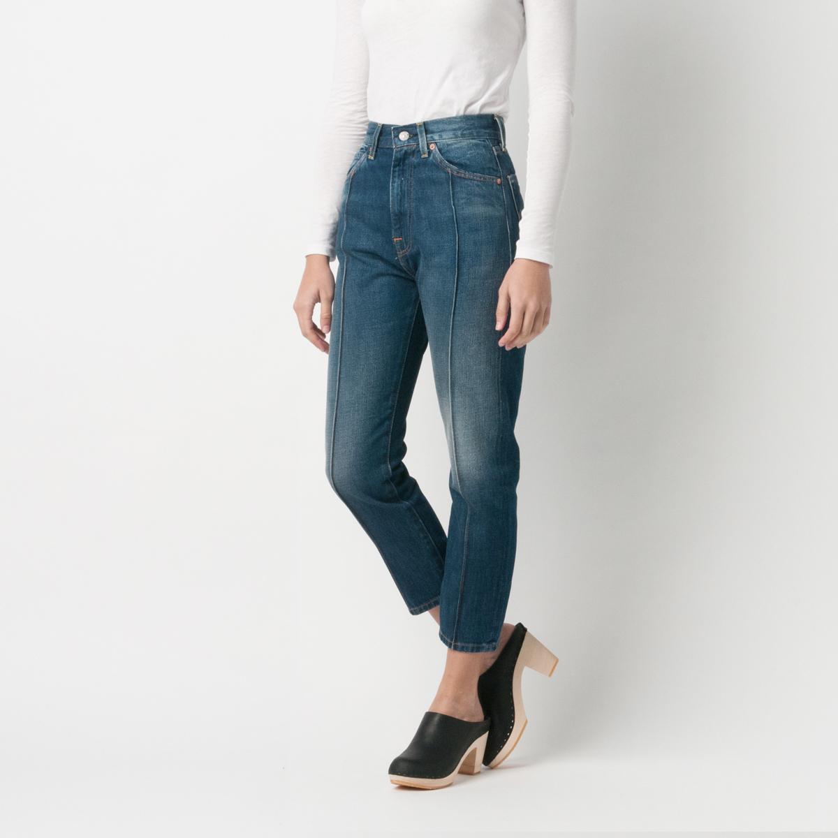 Levi's 701 Vintage Big E Selvedge Blue Ankle Jeans Pin tuck Crop sz 27x26
