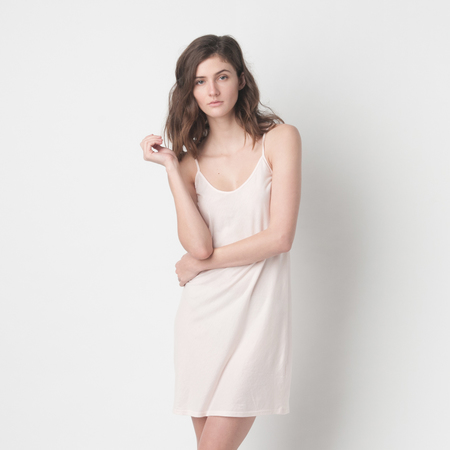 SKIN Pima Cotton Slip in Pearl Pink