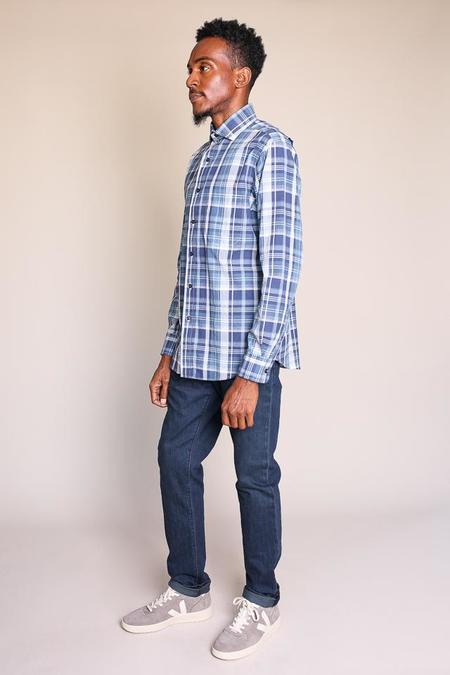 Vert & Vogue Plaid madras button up in light blue