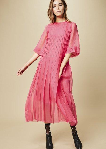 Sara Lanzi Pleated Chiffon Dress with Skirt Slip