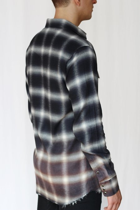 Commun des Mortels bleach distressed shadow plaid western shirt - asphalt black/rust