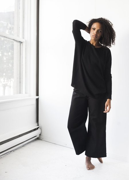 Sunja Link Cotton Canvas Pants in Black