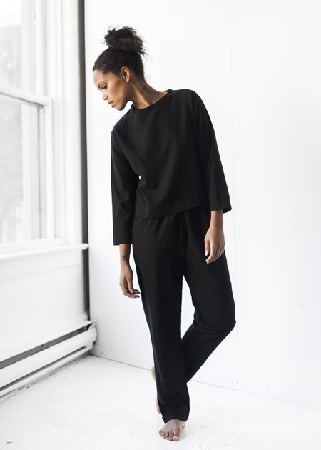 Me & Arrow Cuff Pant in Black Linen