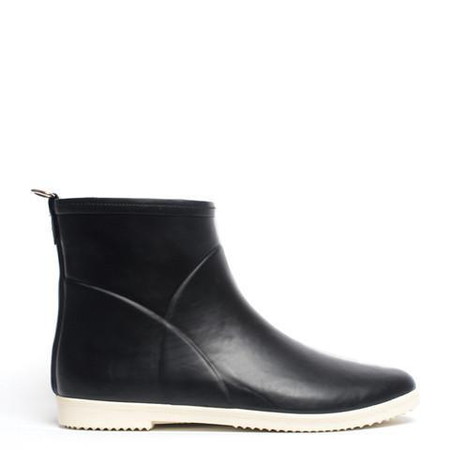 Alice + Whittles Minimalist Black + White Ankle Rain Boot
