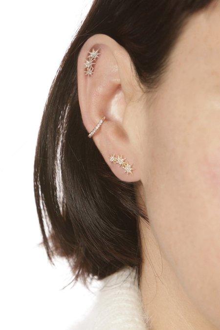 Seldom Seen Triple Starburst Stud Earrings - Yellow Gold