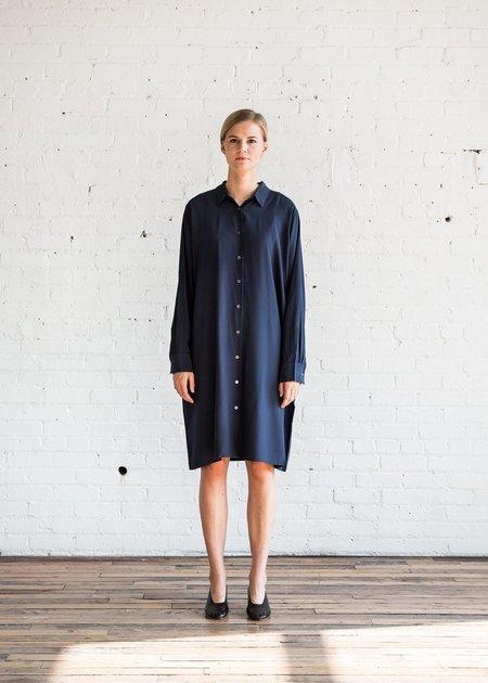6397 Silk Housecoat Dress - Navy