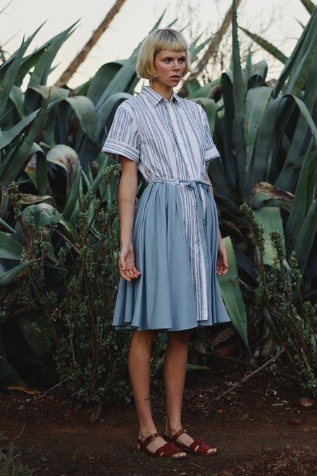 Karu Pleated Dress in Block Printed Cotton