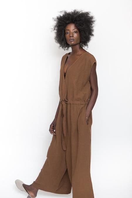Revisited Matters Wrap Jumpsuit - Tobacco
