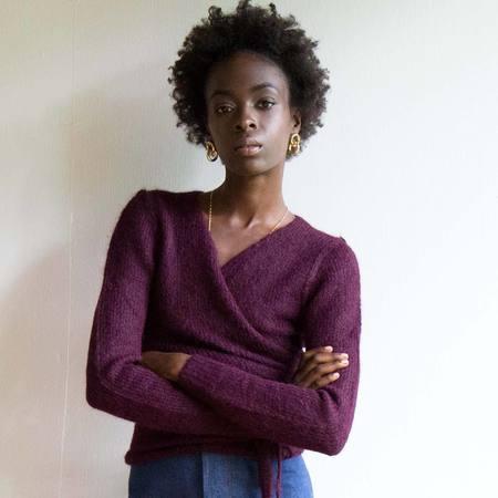 A Détacher Bordeaux Tiara Wrap Sweater