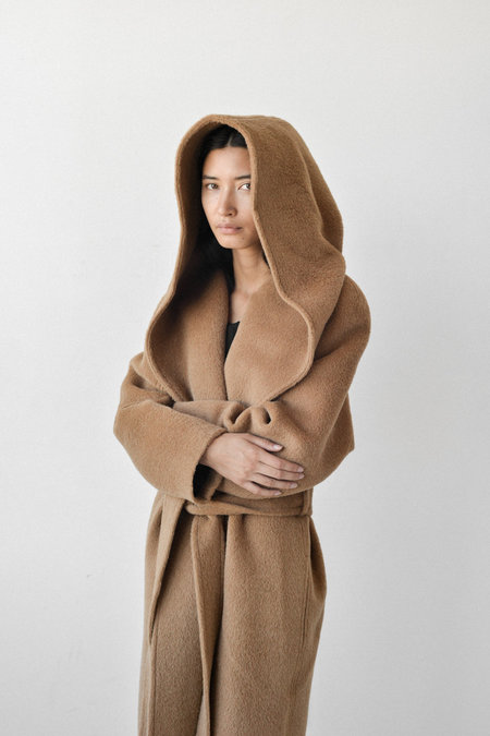 Bevza Wide Hood Oversized Coat in Camel