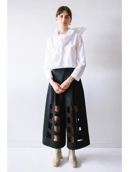 Nancy Stella Soto Denim Cut Out Trouser - Black