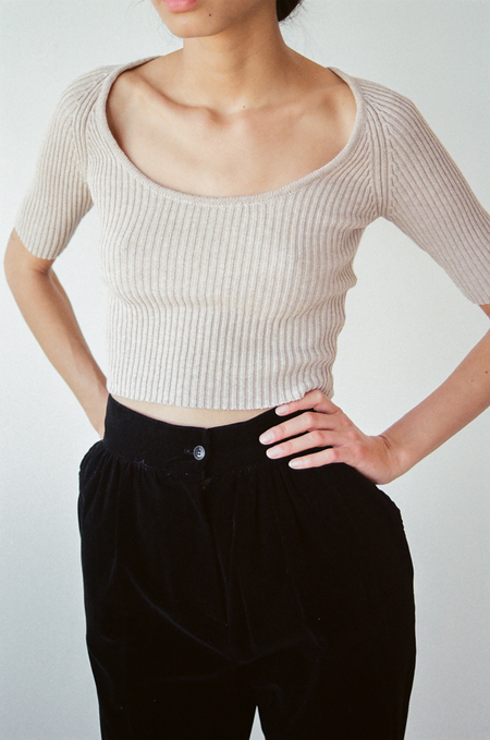 Penny Sage Hikaru Knit Top in Oat