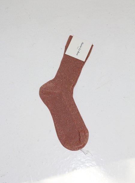 Maria La Rosa Ribbed Sock - Metallic Copper