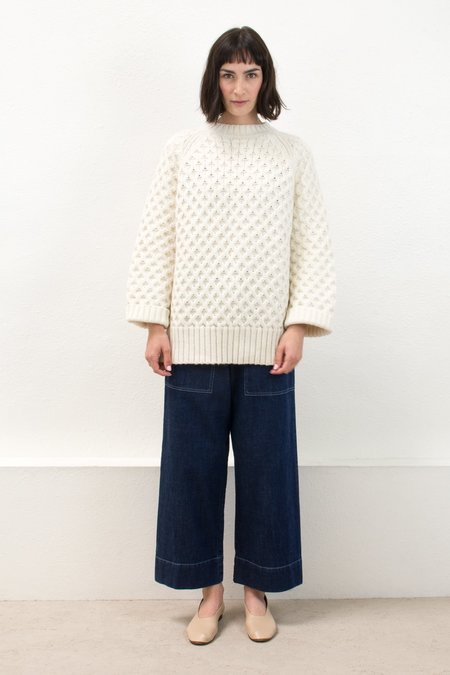 Micaela Greg Cream Honeycomb Cable Sweater