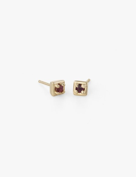 Dream Collective Tiny Square Studs in Red Sapphire