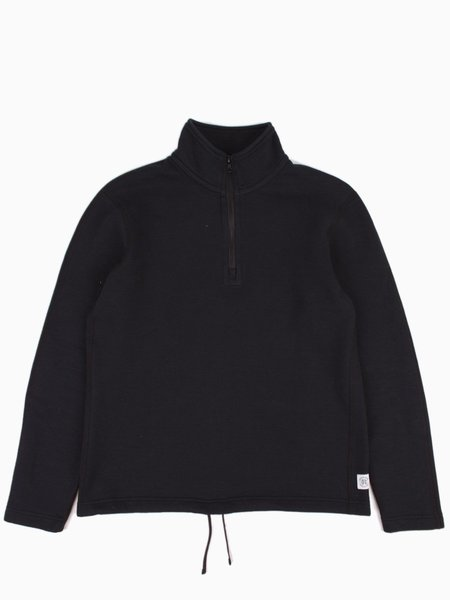 Reigning Champ Mesh Double Knit Half Zip - Black