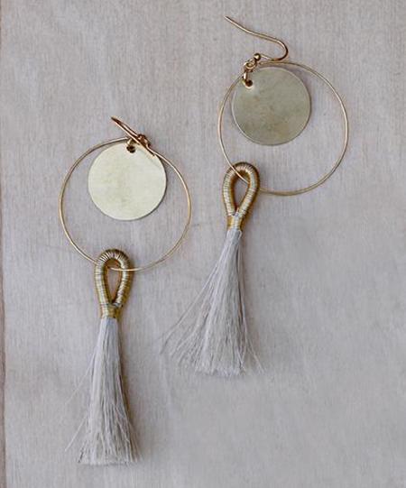 Faye Kendall Horse Hair Disc Earrings - Natural