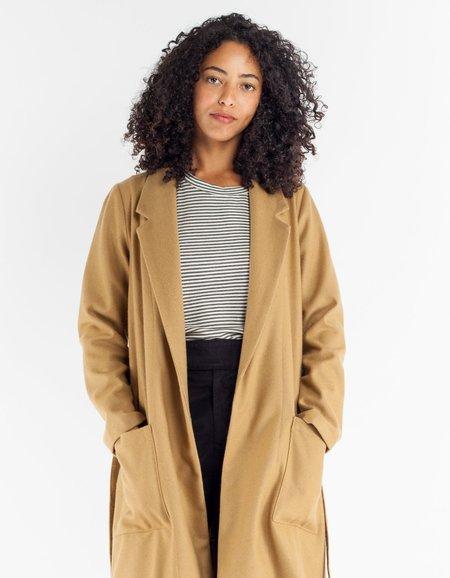 Ali Golden Wool Notch Coat with Belt Camel