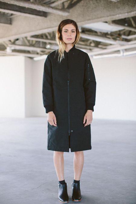Selfhood Long Bomber Style Zip Jacket - Black