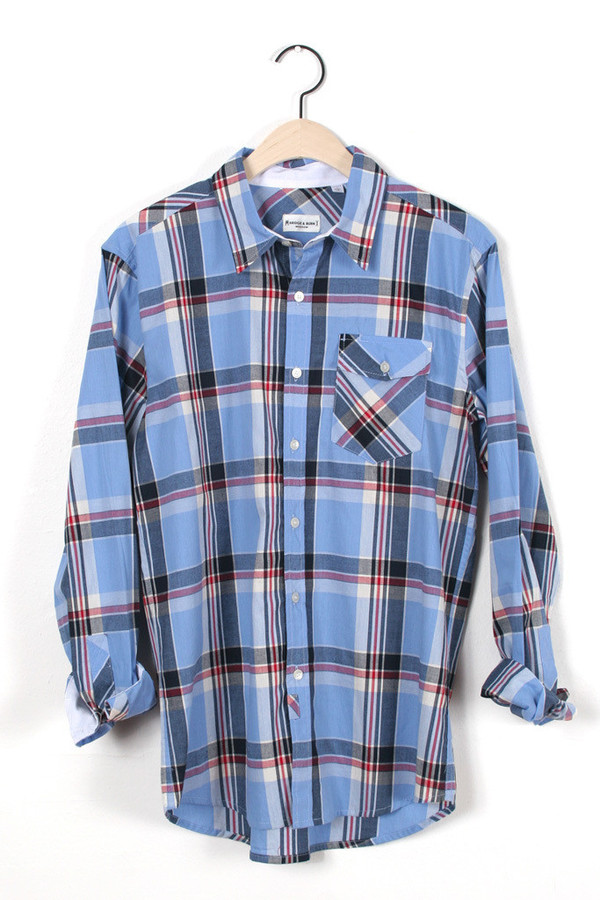 Men's Thomas Blue Plaid Button Up